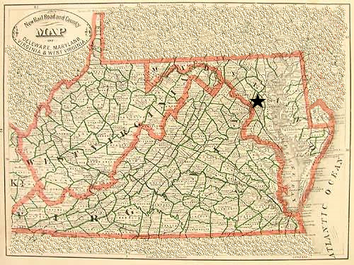 Map outlining the borders of Virginia, West Virginia, Maryland and Sussex County, Delaware